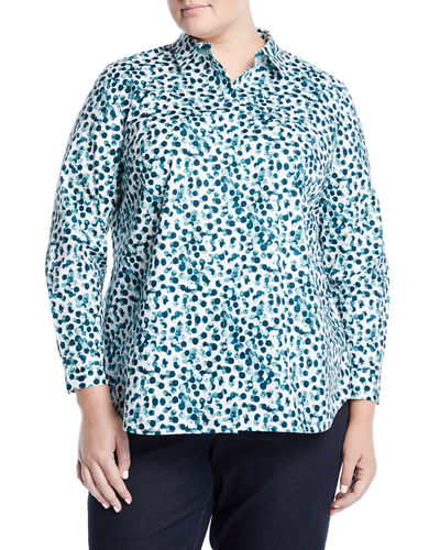 Long-Sleeve Button-Front Watercolor Dot Shirt, Plus Size