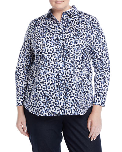 Lafayette 148 New York Plus Long-Sleeve Button-Front Watercolor