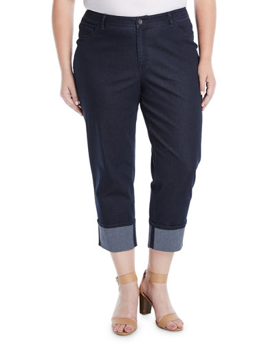 Thompson Cuffed Cropped Jeans, Plus Size