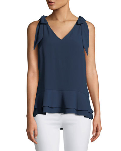 V-Neck Layered Crepe Blouse