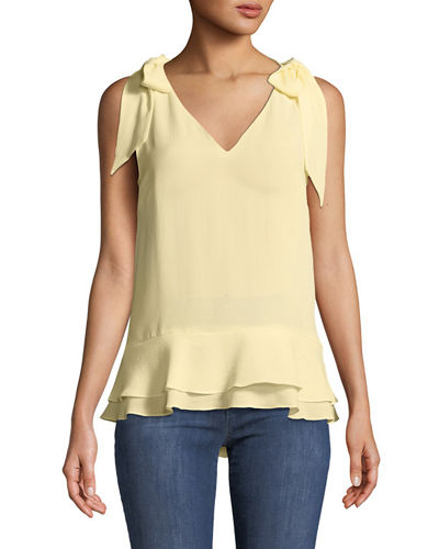 CeCe by Cynthia Steffe V-Neck Layered Crepe Blouse