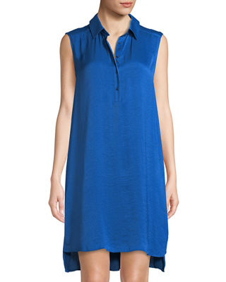 CATHERINE CATHERINE MALANDRINO Stella Sleeveless High/Low Shirt Dress in Blue