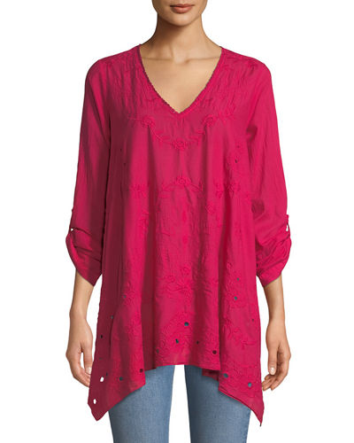 Johnny Was Sophia Flared Eyelet Tunic