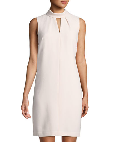Choker-Neck Sleeveless Shift Dress