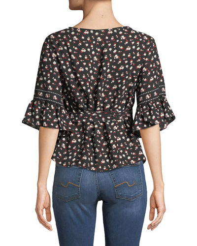Floral Ruffle-Sleeve Wrap Blouse