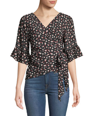 MAX STUDIO Floral Ruffle-Sleeve Wrap Blouse in Black/Red