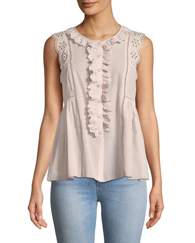 Eyelet-Trimmed Button-Front Tank Blouse