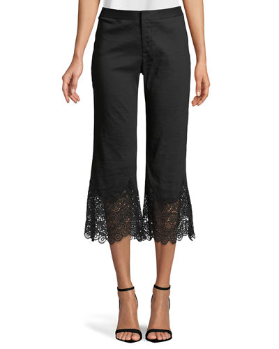 Kelly Crochet-Hem Cropped Pants