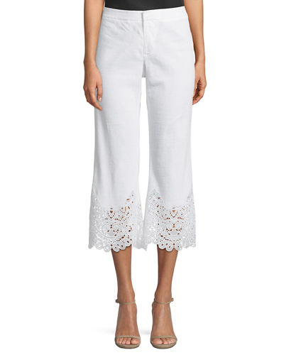Kobi Halperin Kelly Crochet-Hem Cropped Pants