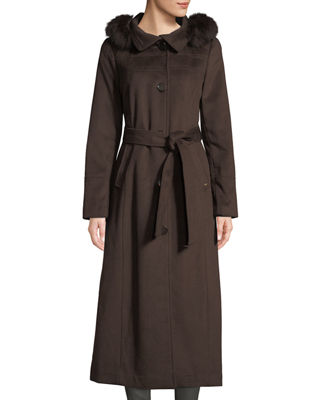 ELLEN TRACY Fox Fur-Hooded Wool Maxi Coat in Brown