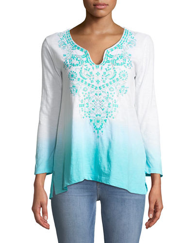 Joan Vass 3/4-Sleeve Embroidered Ombre Tunic