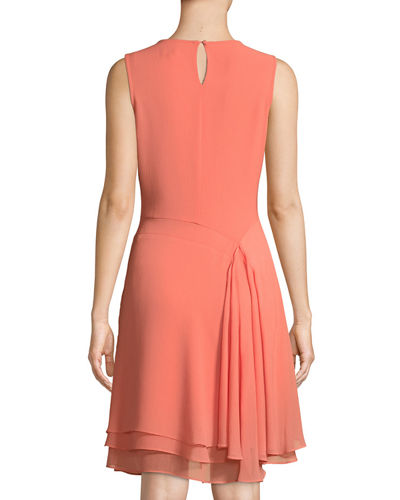 Curved-Seam Ruffle-Trimmed Midi Dress