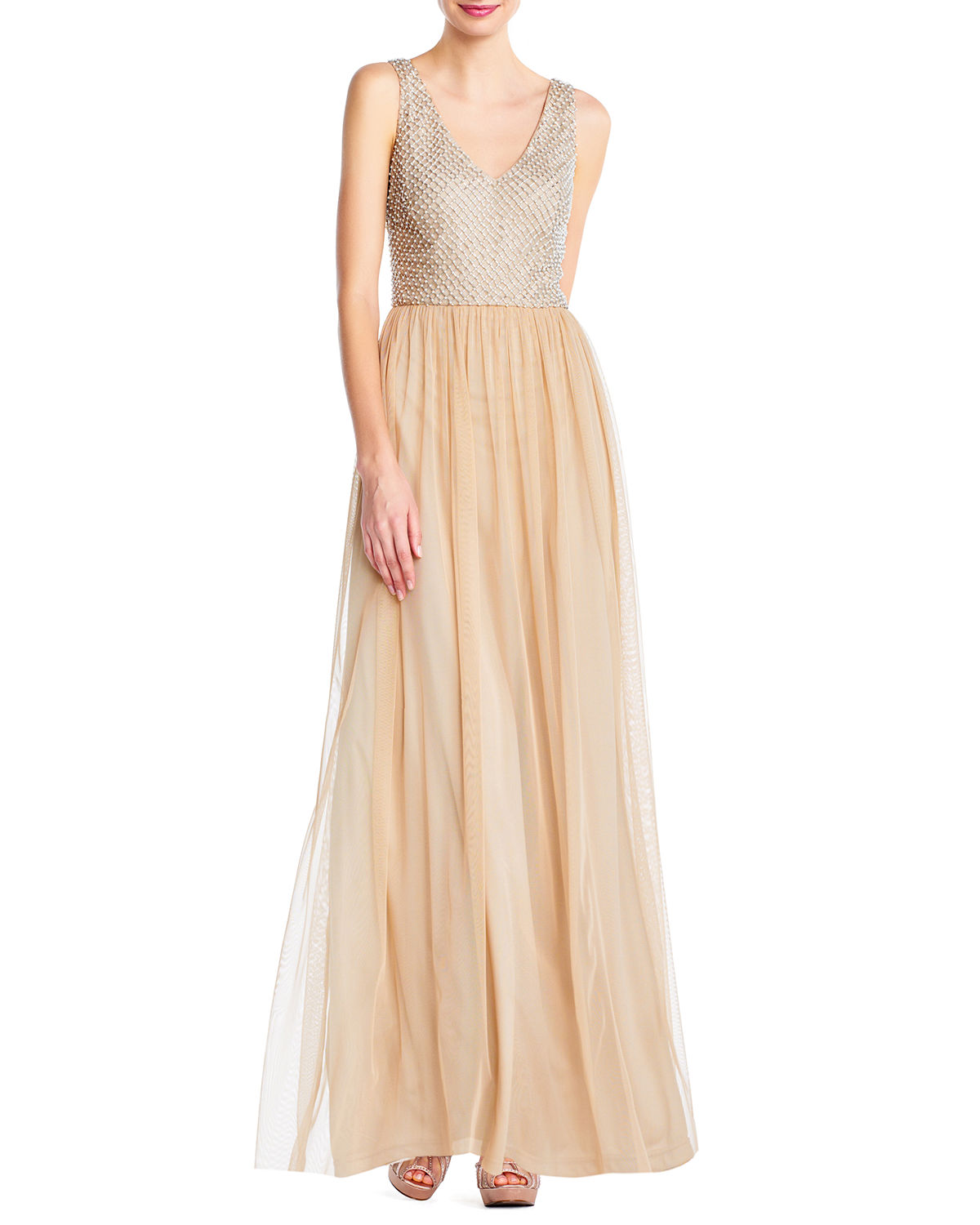 Beading-Netted Bodice Gown