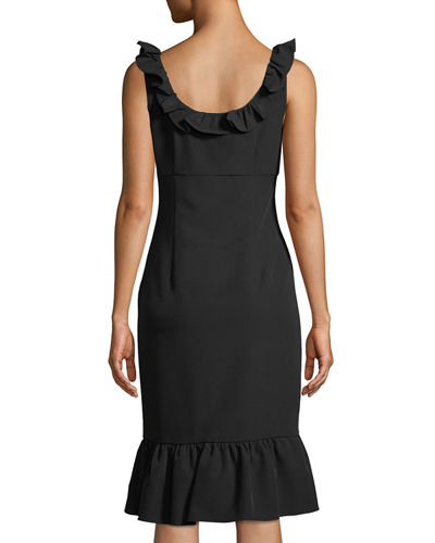 Ruffle-Trim Sleeveless Sheath Dress