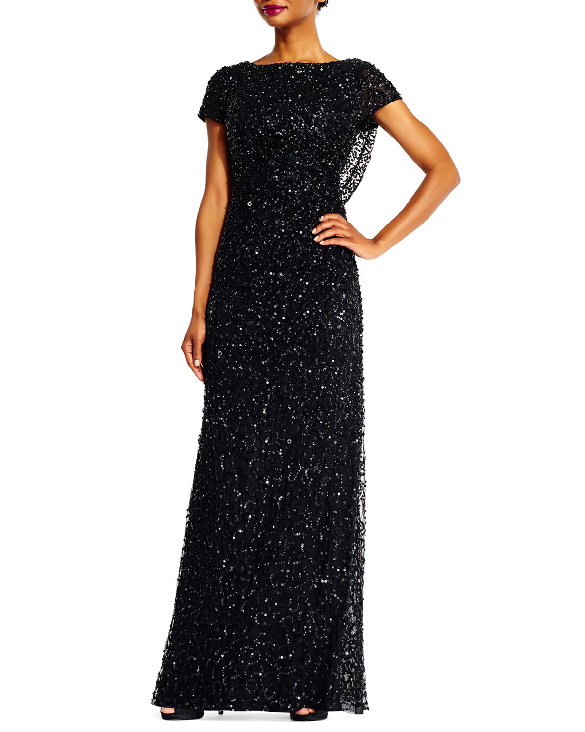 Beaded Cowl-Back Short-Sleeve Gown