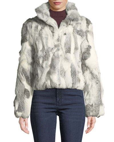 Cropped Textured Rabbit Fur Coat