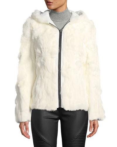 Hooded Reversible Rabbit-Fur Puffer Jacket