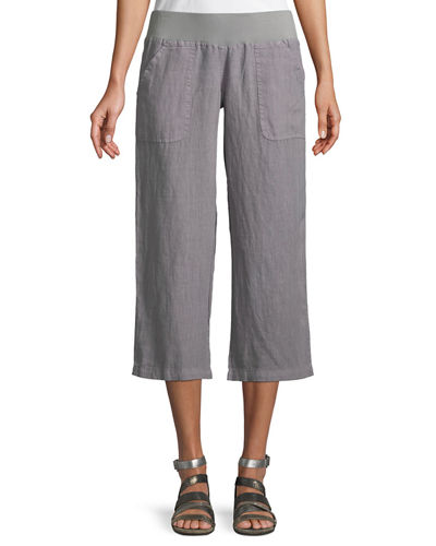 Cropped Linen Wide-Leg Pants