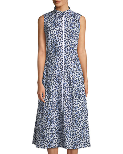 Lafayette 148 New York Banded-Collar Poplin Midi Dress