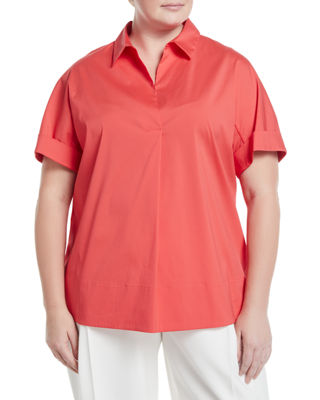 LAFAYETTE 148 NEW YORK PLUS Damon Collared Short Sleeve Blouse, Plus Size in Pink