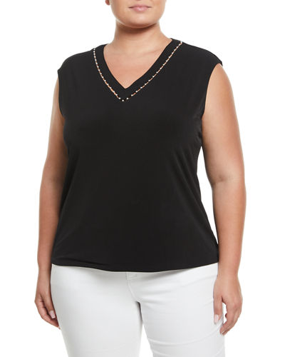 Pearlescent V-Neck Sleeveless Blouse, Plus Size