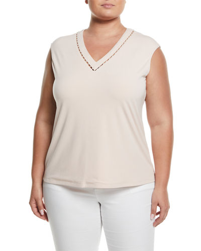 Pearlescent V-Neck Sleeveless Blouse  Plus Size