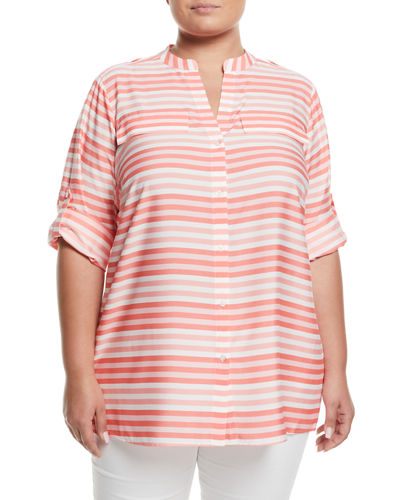 Striped Roll-Sleeve Blouse, Plus Size