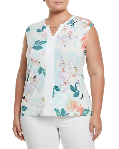 Iconic American Designer Sleeveless Tropical Floral-Print Blouse,
