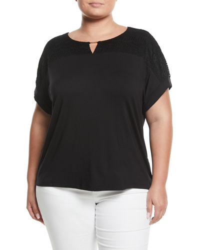 Lace-Yoke Short-Sleeve Tee, Plus Size