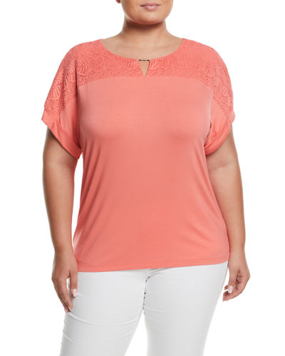 Iconic American Designer Lace-Yoke Short-Sleeve Tee, Plus Size