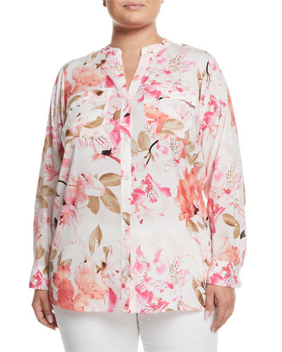 Floral-Print Roll-Sleeve Blouse, Plus Size