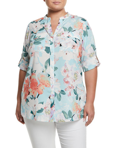 Iconic American Designer Floral-Print Roll-Sleeve Blouse, Plus