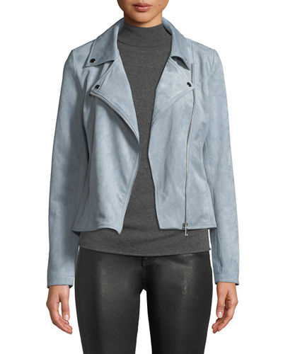 Faux-Suede Motorcycle Jacket