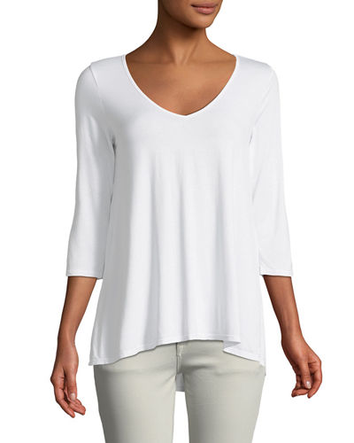3/4-Sleeve Soft V-Neck Tee