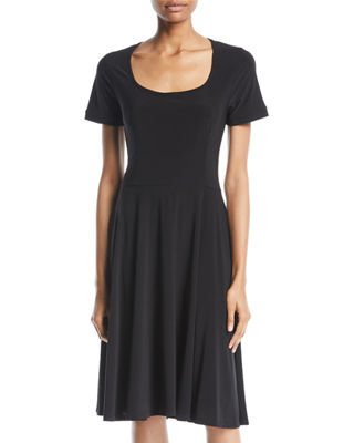 MELISSA MASSE Short-Sleeve Fit-And-Flare Dress in Black