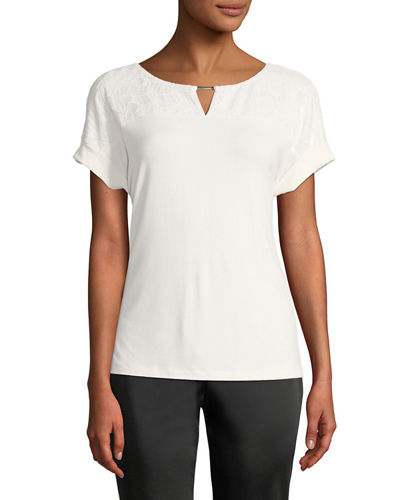 Iconic American Designer Lace-Yoke Short-Sleeve Tee