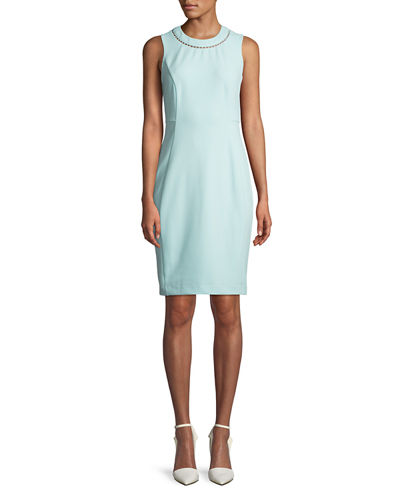 Sheath Dress With Pearl Neck