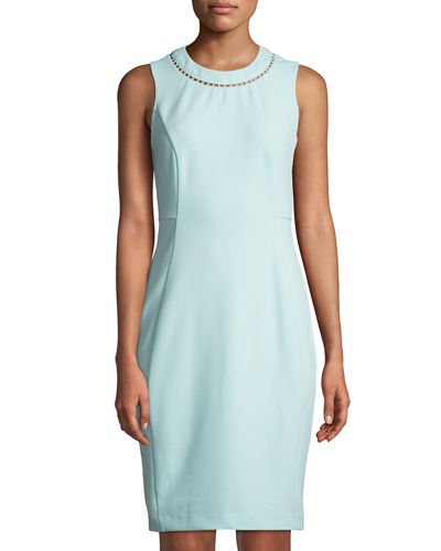 Iconic American Designer Sheath Dress With Pearl Neck