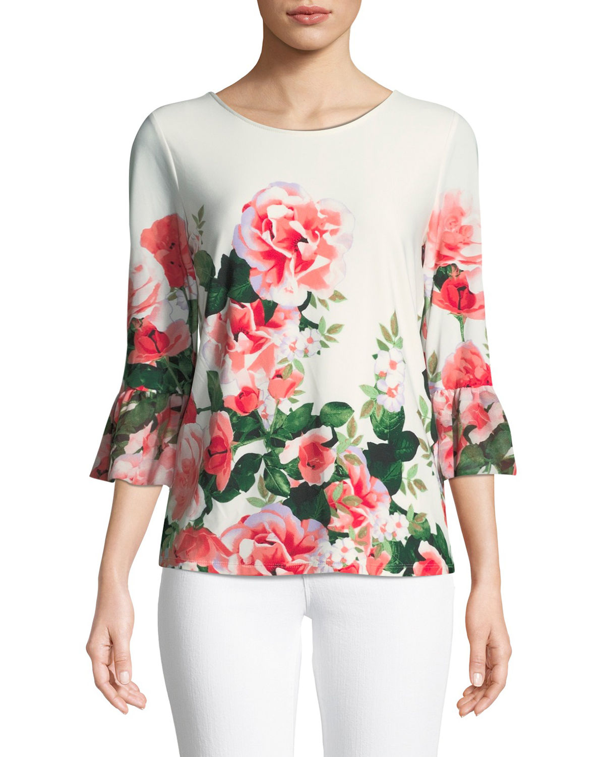 3/4-Sleeve Floral Ombre Blouse