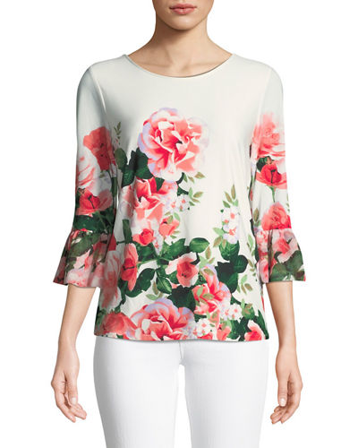Iconic American Designer 3/4-Sleeve Floral Ombre Blouse