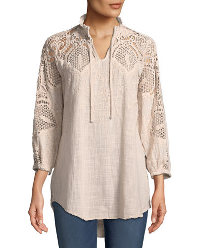 Jill Crochet-Sleeve Peasant Blouse
