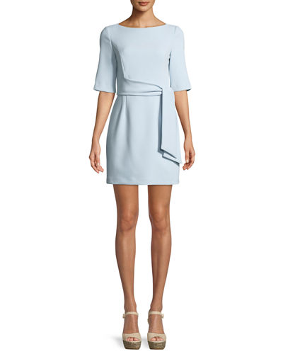 Virgil Tie-Front Boat-Neck Mini Dress