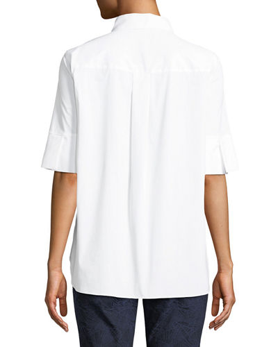 Sander Half-Sleeve Button Front Blouse