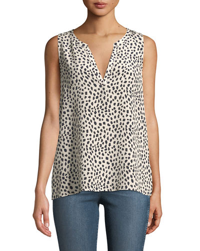 Corette Sleeveless Spotted Silk Blouse