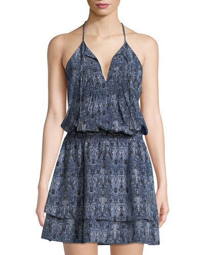 Jossa Snake-Print Georgette Mini Dress