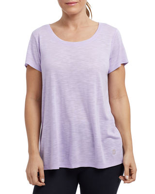 THE BALANCE COLLECTION Olive Slub Keyhole-Back Tee in Purple