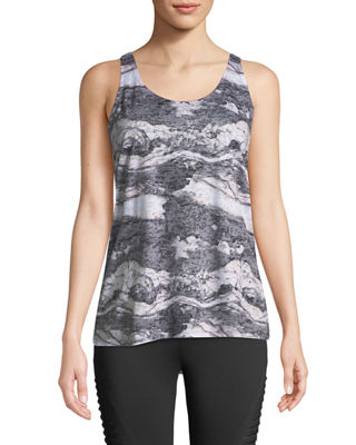 THE BALANCE COLLECTION Jane Marble-Print Twist-Back Tank in Gray