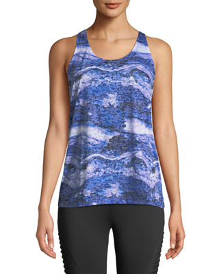 THE BALANCE COLLECTION Jane Marble-Print Twist-Back Tank in Blue
