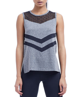 THE BALANCE COLLECTION Isla Side-Split Tank W/ Contrast Insets in Gray