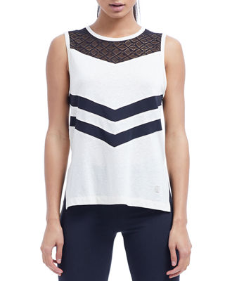 THE BALANCE COLLECTION Isla Side-Split Tank W/ Contrast Insets in White